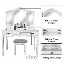Tri Folding Mirror Vanity Dressing Table Set with Cushioned Stool, 7 Drawers