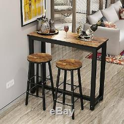 Tribesigns 3-Piece Pub Table Set with 2 Bar Stools for Kitchen Dining Room New