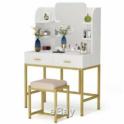 Tribesigns Makeup Vanity Table Large Mirror & Cabinet & Drawers Table Stool Set