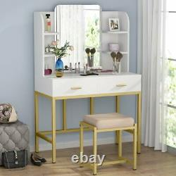 Tribesigns Makeup Vanity Table Set with Mirror Drawers and Stool White+Gold Desk