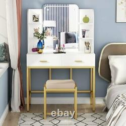 Tribesigns Makeup Vanity Table with Lighted Mirror and Stool for Girls 2 Drawers