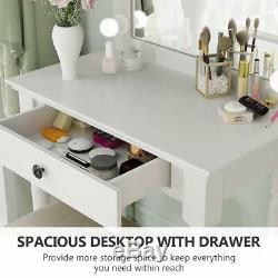 Tribesigns White Vanity Set with Lighted Mirror, Makeup Dressing Table + Stool