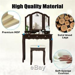 Unique 5 Drawers Vanity Set Makeup Vanity Table Cushioned Stool Foldable Mirror
