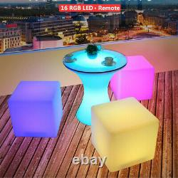 VIVOHOME 16 Cube LED RGB Light Stool Outdoor Garden Patio Yard Table Chair Seat