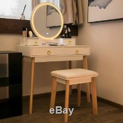 VIVOHOME Makeup Vanity Dressing Table Set 3-Color Touch LED Mirror Stool Drawers