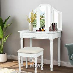 Vanity Dressing Makeup Table Set withTri-Folding Mirror & Stool for Bedroom White