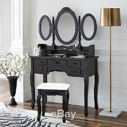 Vanity Make Up Table Black Dressing Table Set withStool 7 Drawer & 3 Mirrors Fold