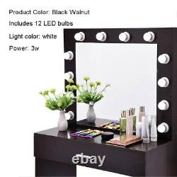 Vanity Makeup Dressing Table Jewelry Desk Set with12 LED Vanity Lights withStool US
