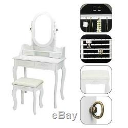 Vanity Makeup Dressing Table Mirror with Jewelry Cabinet Stool Wood Drawers US