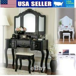 Vanity Makeup Dressing Table Set 5 Drawers 3 Mirrors With Stool Wood Desk