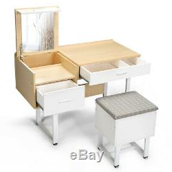 Vanity Makeup Dressing Table Set with Storage stool Flip Top Mirror 2 Drawer Desk