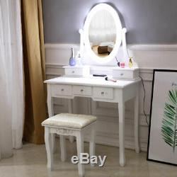 Vanity Makeup Table Set with Lighted Mirror Dressing Table+10 LED Light+Stool US