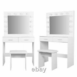 Vanity Mirror with Light Bulbs Dressing Table Makeup Desk with Stool and 2 Drawers