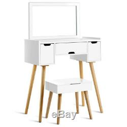 Vanity Set 3-Drawer Square Mirrored Makeup Dressing Table Stool with Storage Space