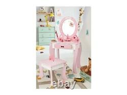Vanity Set / Dressing Table With Mirror and Stool Children Kids Wooden Pink
