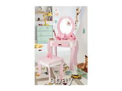 Vanity Set / Dressing Table With Mirror or Stool Children Kids Wooden Pink