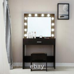 Vanity Set Dressing Table with 12 LED Mirror Drawers & Stool Bedroom Furniture