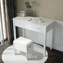 Vanity Set Make-up Dressing Table w Flip Top Mirror and Cushioned Storage Stool