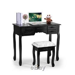 Vanity Set Makeup Dressing Table Desk with Stool 3 Mirror 7 Drawers Chic Black
