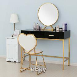 Vanity Set Makeup Dressing Table With 2 Drawers Stool Removable Mirror Black