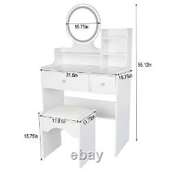 Vanity Set Makeup Dressing Table with LED Lights with Stool and Mirror Hot
