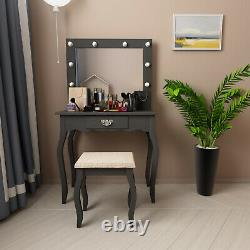 Vanity Set Makeup Dressing Table with Padded Stool, LED Lighted Mirror Black