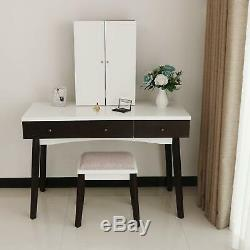 Vanity Set Makeup Table With Cushioned Stool Storage Shelves Makeup Organizer