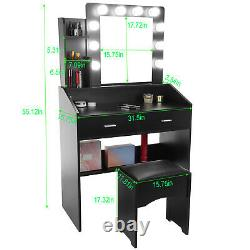 Vanity Set Makeup Table with Lighted Mirror & Drawers & Cushioned Stool White US