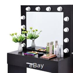 Vanity Set With Lighted Mirror Cushioned Stool Dressing Table Makeup Table
