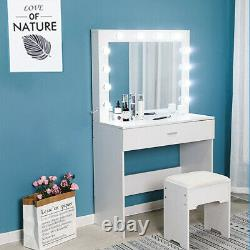 Vanity Set withLED Lighted Mirror Cushioned Stool Dressing Table Makeup Table