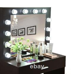 Vanity Set with 12 LED Lighted Hollywoo Mirror Makeup Dressing Table Desk Stool