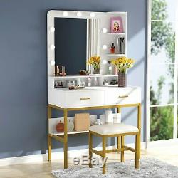 Vanity Set with 9Light Bulbs Makeup Mirror Stool Table 2 Drawers Dressing Table