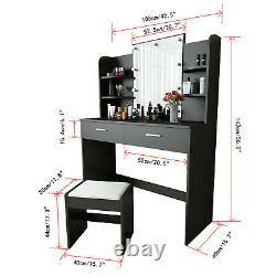 Vanity Set with Hollywood LED Light Bulbs, Makeup Table +Stool and Mirror&6 Shelf