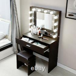 Vanity Set with Lighted Mirror Makeup Dressing Table+12 LED Light+Stool WithDrawer