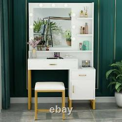 Vanity Set with Lighted Mirror & Stool Dressing Table with Drawers and Shelves