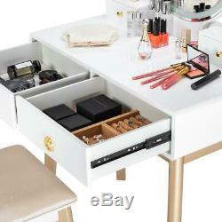 Vanity Table Set Dressing Makeup Table with Stool 3 Variable LED Light 4 Drawers