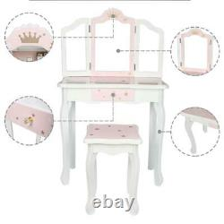 Vanity Table Set Makeup Dressing Table Kid Gifts for Girls Stool Foldable Mirror