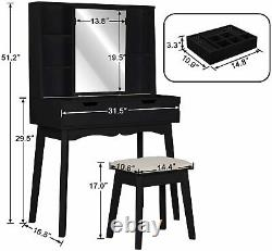 Vanity Table Set with Mirror Makeup Organizer Dressing Table and Cushioned Stool