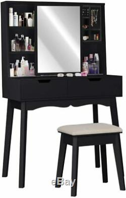 Vanity Table Set with Mirror and Makeup Organizer Dressing Table Stool, Black