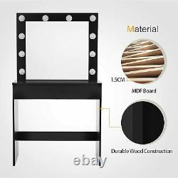 Vanity Table Set with Stool, Drawer, 10 LED Lights Mirror, Wood Dressing Table