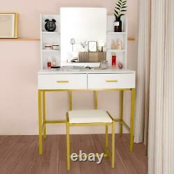 Vanity Table with 2 Jewelry Drawers & 6 Shelves Makeup Dressing Stool Set