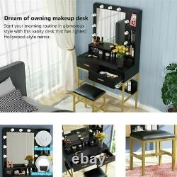 Vanity Table with Lighted Mirror & Drawers Makeup Dressing Desk Stool Set