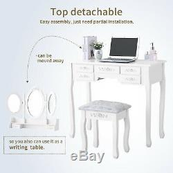 Vanity Wood Makeup Dressing Table Set Desk Stool With Drawers Mirror Jewelry White