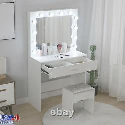 Various Fashion Vanity Set With Mirror Cushioned Stool Dressing Table For Makeup