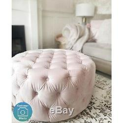 Velvet Pouffe Coffee Table Buttoned Ottoman Footstool Large Quilted Round Stool