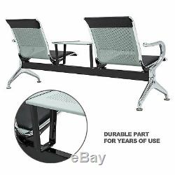 Waiting Room Chair WithTable 2-Seat Salon Airport Reception PU Leather Office