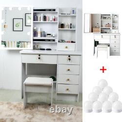 White Beautiful Makeup Vanity Set With 10 LED Mirror Stool Dressing Table Gift