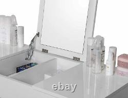 White Dressing Table Make Up Unit Vanity Mirror and Stool Bedroom Dresser