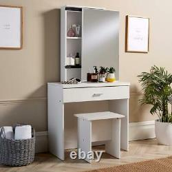 White Dressing Table Set With Sliding Storage Vanity Mirror and Stool