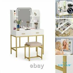 White+Gold Vanity Table & Stool Set Lighted Mirror Dressing Table with 2 Drawers